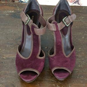 Nine West size 10 Maroon Suede Wedge Heel